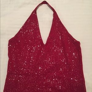 BCBG Red Sequin Halter Top